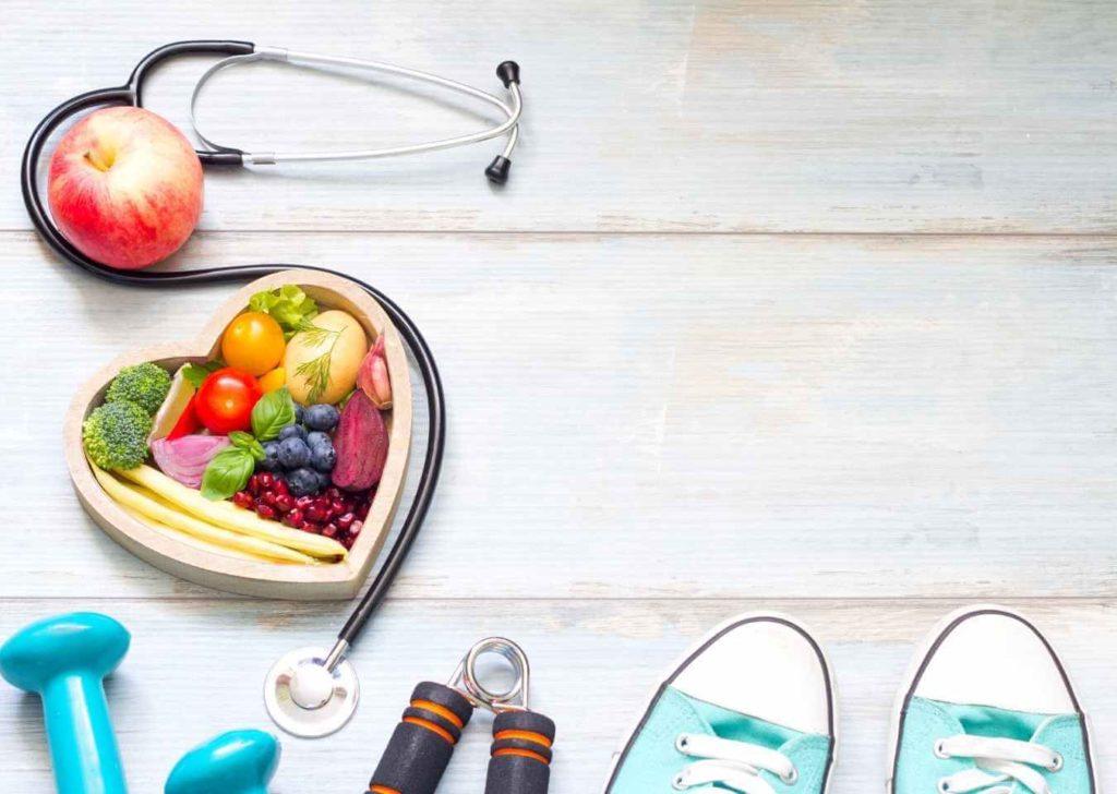stetoskop zdrowe jedzenie hantle